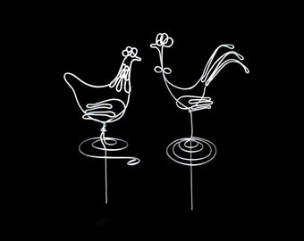 "Wedding Cake Topper ""A Hen and A Rooster''"