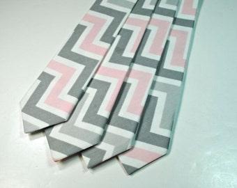 Pink and Grey Chevron Cotton Neckties, Pink Neckties, Wedding Neckties, Custom Neckties, Mens Neckties