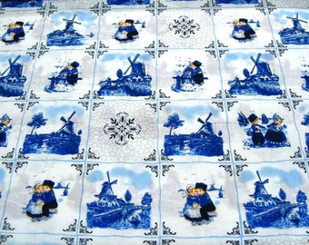 Dutch Delft Blue Cotton - Blue farmers - Fat Quarter