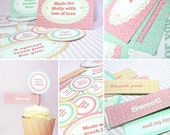 Kawaii Sweet Love Giftwrap Cupcake Set Cute Valentine's Day Easter Love Birthday Party Printable PDF