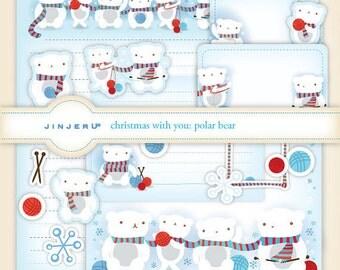 Christmas with you Polar Bear Stationery Printable PDF