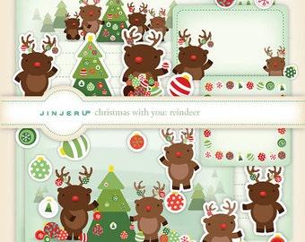Christmas with you Reindeer Stationery Printable