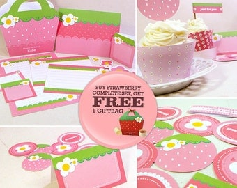 Kawaii Strawberry Love Complete Set (with FREE Giftbag OFFER) Cute Valentine's Day Easter Love Birthday Party Printable PDF
