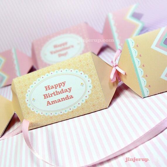 Kawaii Sweet Love Cream Candy Giftbox Cute Valentine's Day Easter Love Birthday Party Treatbox Sweet Box Packaging Editable Printable PDF