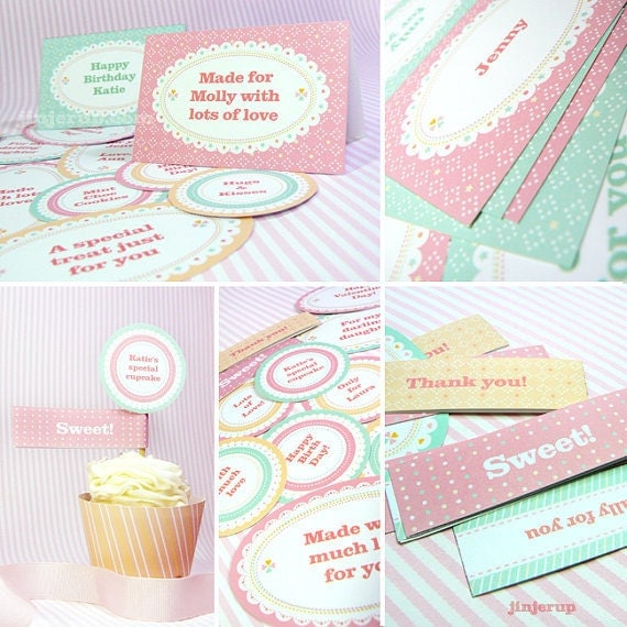 Kawaii Sweet Love Giftwrap Cupcake Set Cute Valentine's Day Easter Love Birthday Party Printable PDF