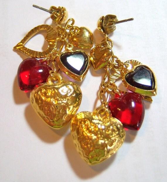 vintage dangling hearts pieced earrings