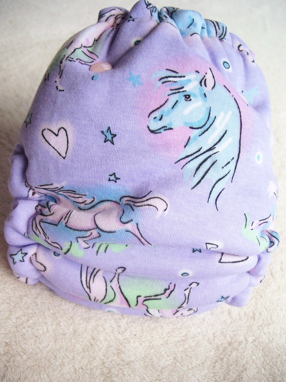 Horses on Lilac with Baby Pink Cotton Velour Fitted Cloth Diaper - OSFM One Size Fits Most - KNIT