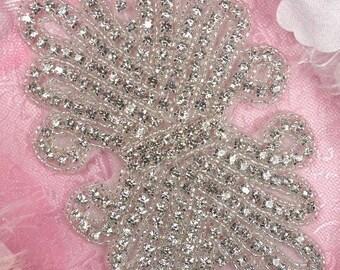 "JB90 Bridal Sash Crystal Rhinestone Applique Silver Beaded 7.5"" (JB90-slcr)"