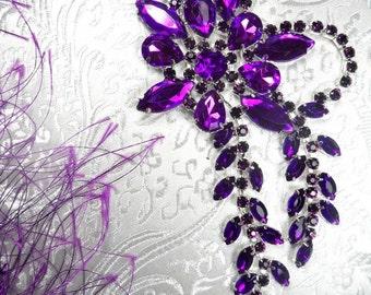 """XR127 Deep Purple Crystal Rhinestone Applique """"Beth"""" Embellishment 7.5"""" ( XR127-pr)"""