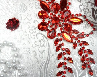 "XR119 Red Crystal Rhinestone Applique Embellishment 7.5"" (XR119-rd)"