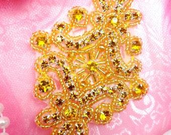 "JB115 Applique Gold Rhinestones Gold Beaded 4"" (JB115-gl)"