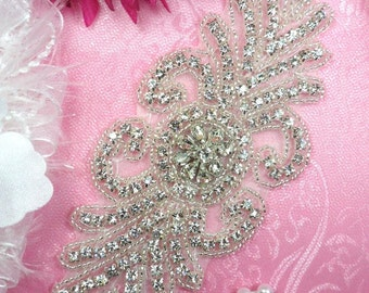 "XR199 Crystal Rhinestone Applique Silver Beaded 7"" (XR199-slcr)"