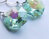 Antique Green Octagon Swarovski Crystal Earrings, Green Crystal Earrings, Wedding, Bridal, Bridesmaids