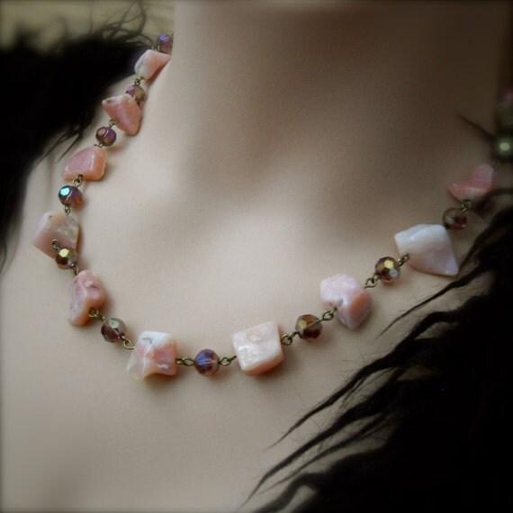 Pink Opal Gemstone Necklace Wellbeing Jewelry Earthy Rustic Choker