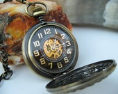 1882's Archaize Bronze Mechanical Pocket Watch, Pocket Watch Chain - Steampunk Watch - Groomsmen Gift - Men's Watch - Item MPW151a