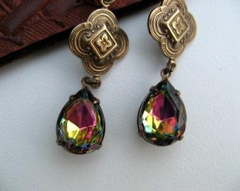 Vintage Bronze Rhinestone Earrings,  Vitrail Jewel Dangle Earrings - Victorian Jewelry