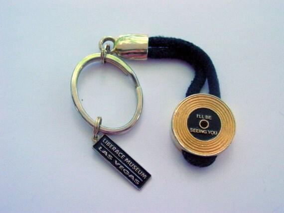 Vintage Liberace Museum Key Chain Paris France Gold Tone Metal & Black Enamel Vintage Accessory Collectible Jewelry Souvenir