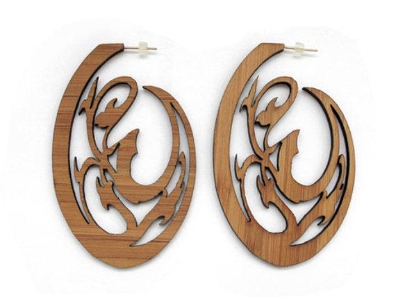 Nature Oval Bamboo Earrings-KSE101004