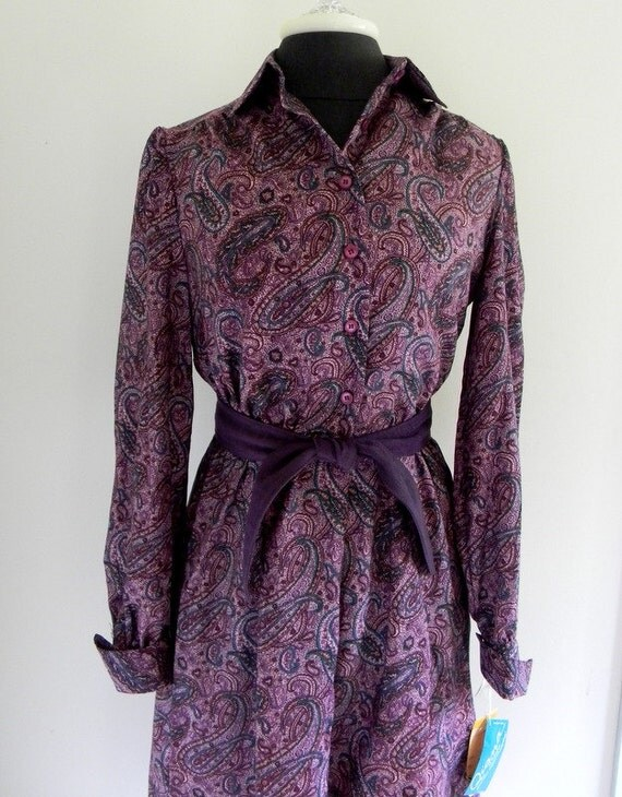 Vintage Dress, Purple Paisley Print Dress Deadstock With Original Tags Size 8