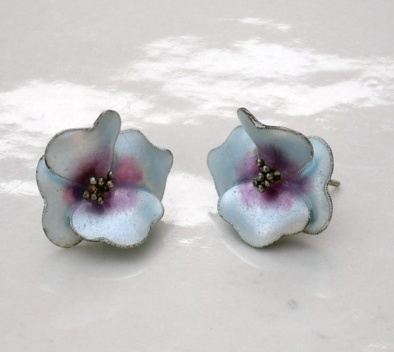 Mid Century Sterling Silver and Enamel Floral Earrings