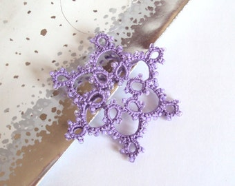 Purple Tatted Christmas Tree Decoration - Celyna - Small