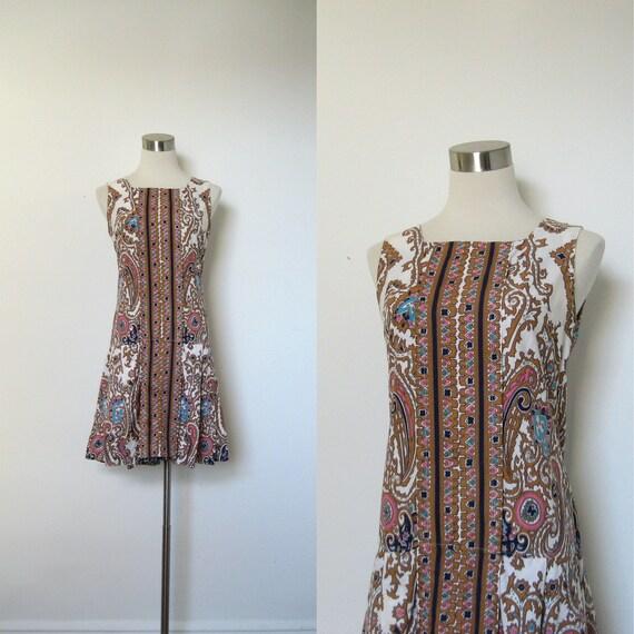 1960s Romper / 60s Drop Waist Skort Jumpsuit / Paisley Printed (small medium)
