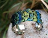 Echte Peacock Feather Manschette blau, grün, Gold - kleine 1 cm Armband