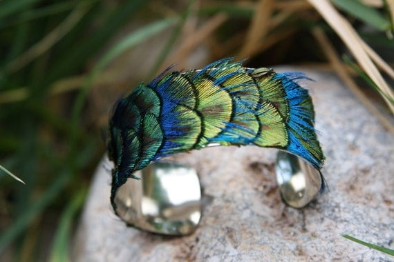 Genuine Peacock Feather Cuff Blue, Green, Gold - Small 1 inch Bracelet