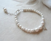 Baptism Bracelet First Communion Gift Flower Girl Bracelet Flower Girl Gift Flower Girl Jewelry Pearl with Sterling Silver Cross Charm B185