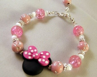 ADULT SIZE Mouse with Polka Dot Bow Bracelet in Light Pink and Hot Pink B066