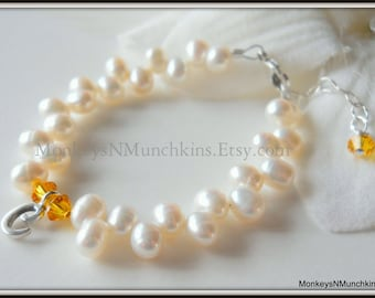 Zig Zag Freshwater Pearl and Initial Bracelet with Crystals B105