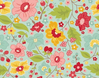 OOP HTF one yard The Sweetest Thing RB Fabric Pink Red and Yellow Flowers on Sky Blue