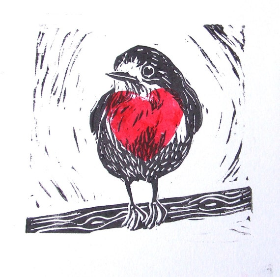 Big Hearted Robin Lino Cut Print