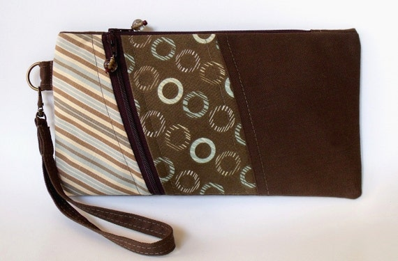 Wristlet Wallet Pouch Purse ANNIE in CHOCOLATE ZIPPERS