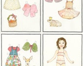 Custom bespoke children's portrait paper doll set and coloring pages OOAK