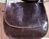 Brown Leather distressed Satchel hand bag