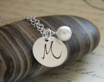 initial monogram hand stamped silver necklace