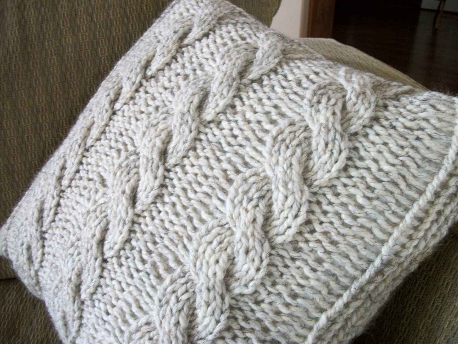 Chunky Knit Pillow Pattern : Cable knit chunky yarn accent pillow by MamaSherrysKnitShack