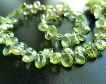 1/4 Strand - Gemstone Peridot Faceted Pear Briolettes (No. 1428)