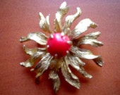Vintage Brooch Pin - Sunburst by BSK - Red Bead