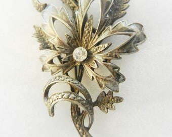 KIGU signed Old English brooch 1950, beautiful line, pewter and crystal -charmingly Retro --Art.502 -