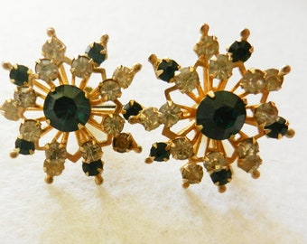Original CORO  Beautiful earrings - vintage 1940s beautiful crystals and refined line - Collectible--Art.84-2--