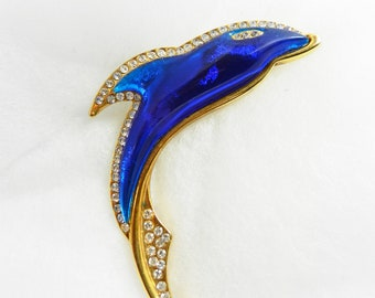 1970s vintage Dolphin  figure brooch signed - cobalt blue and crystals for animal figure pin collection-elegance and color-Art.303/2 -