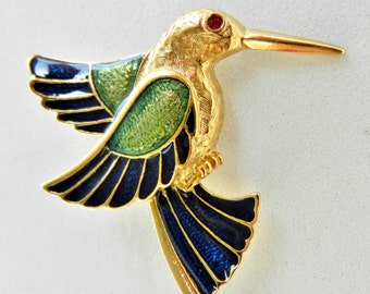Original brooch 1950 -  a fantastic bird, with exquisite enamel shades - lovely hummingbird for Collection --Art.686/2 -