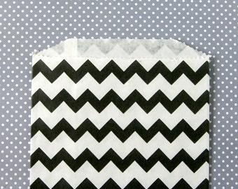Black Chevron Goody Bags / Favor Bags / Treat Bags (20) - 5 x 7.5 inches - Midi Size