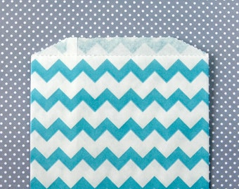 Aqua Blue Chevron Paper Bags (20) - Medium Goodie Bags - Candy Buffet, Party Favor, Wedding Favor