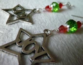 JOY Earrings - Red and Green Dangle Charm Earrings