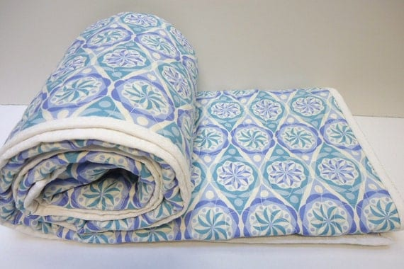 Baby Quilt, Baby Boy Quilt , Big Star, Teal and Periwinkle