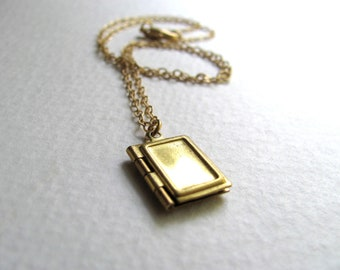 Tiny book locket necklace on delicate 14k gold plated chain, upcycled vintage jewelry, small locket