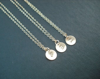 Personalized, Three Hand stamped initial disc necklace - 14K gold filled metal